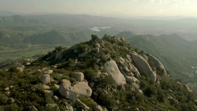 Circling mountain landscape stock footage