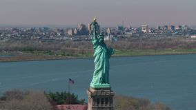 Circling statue of liberty stock video footage