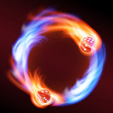 Circling two red dice in fire. Stock Photo