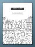Circo, composizione in progettazione della linea del partito di carnevale illustrazione vettoriale