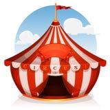 Circo del top grande con la bandera Foto de archivo libre de regalías