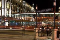 Circo di Oxford a Londra alla notte. Fotografia Stock Libera da Diritti