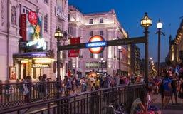 Circo di Piccadilly nella notte Londra Fotografia Stock Libera da Diritti