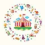 Circo, icone di carnevale e cartolina infographic degli elementi illustrazione vettoriale