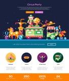 Circo, insegna di intestazione del sito Web del partito di carnevale con gli elementi del webdesign royalty illustrazione gratis