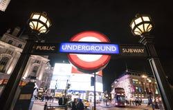 Circo LONDRES, Inglaterra - Reino Unido de Piccadilly de la estación del metro de Londres - 22 de febrero de 2016 Imágenes de archivo libres de regalías