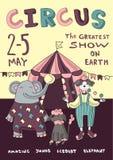 Circo o manifesto di carnevale con la tenda di chapiteau, le giocoliere dell'artista e gli animali preparati Illustrazione di man illustrazione vettoriale
