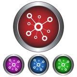 Circolare, icona astratta metallica dei collegamenti Quattro variazioni di pendenza di colore Isolato su bianco illustrazione di stock