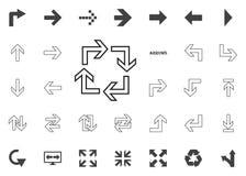 Circolare nell'icona quadrata delle frecce Icone dell'illustrazione della freccia messe fotografie stock libere da diritti