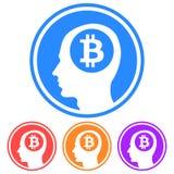 Circolare, pensiero piano all'icona del bitcoin Profili la siluetta capa con un logo del bitcoin dentro Quattro variazioni illustrazione di stock