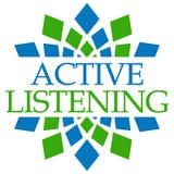Circolare verde blu d'ascolto dell'attivo Fotografia Stock Libera da Diritti