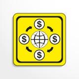Circolazione di soldi nel mondo Innesta l'icona Oggetto in bianco e nero su un fondo giallo illustrazione vettoriale