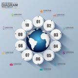 Circolo digitale astratto 3D Infographic Immagini Stock