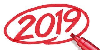 2019 circondati con un indicatore rosso illustrazione di stock