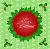Circondi con le foglie di Natale ed il fondo santi del modello Fotografie Stock