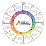 Circondi il modello infographic con 12 opzioni per le presentazioni, la pubblicità, le disposizioni, rapporti annuali del grafico Immagini Stock Libere da Diritti