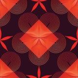 Circondi la linea modello senza cuciture della stella di colore rosso del fiore Immagine Stock Libera da Diritti