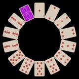 Circondi le schede di gioco dei diams di figura isolate sul nero Fotografia Stock
