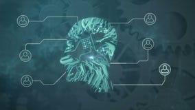 Circuit électrique sous forme de tête humaine sur un fond de adaptation illustration stock