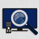 Circuit électronique agrandi à la TV illustration libre de droits