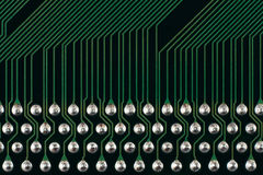 Circuit. Computer circuit board extreme macro as abstract electronic background. Green Royalty Free Stock Photos