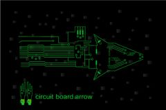 Circuit. Particular green circuit shaped arrow Royalty Free Stock Photography