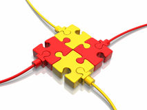 Circuit. 3D concept with jigsaw puzzles over white reflective background Royalty Free Stock Photos