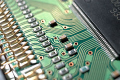 Circuit. A view of electronic circuit, some components on it Stock Images