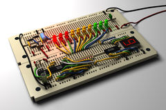 Circuit. Electronic circuit on a breadboard Stock Photography
