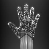 Circuit abstract hand. Vector illustration. Eps 10 Royalty Free Stock Photo