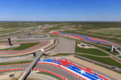 The Circuit of the Americas race track. A View of the track from the tower at COTA The Circuit of the Americas race track in Austin, TX Stock Photo