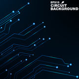 Circuit. Black abstract background of digital technology. New technologies in design. Computer network. Blue, glowing neon lines. Computer system vector illustration
