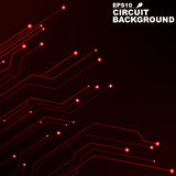 Circuit. Black abstract background of digital technology. New technologies in design. Computer network. Red, glowing neon lines Stock Photo