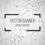 Circuit black and white board banner with text.  background Stock Images