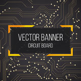 Circuit black yellow golden board banner with text.  background Royalty Free Stock Image