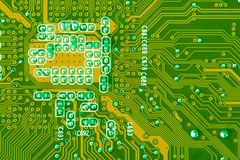Circuit Board. Green Computer Circuit Board closeup Stock Photo