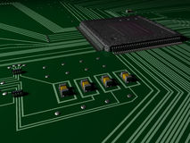 Circuit Board. With microprocessor and computer chips Royalty Free Stock Images