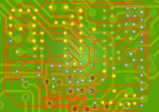 Circuit Board. Computer circuit board background in green and red Royalty Free Stock Photos