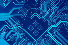 Circuit board. Abstract blue computer circuit board close up for background Stock Photography