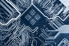 Circuit board. Abstract blue computer circuit board close up for background stock image