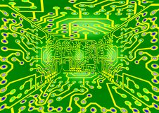 Circuit Board. Computer circuit board background in green and yellow Stock Images