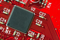 Circuit board. Image of a printed circuit board with electronics components Stock Photo