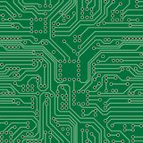 Circuit Board. Green computer circuit board. Seamless pattern Royalty Free Stock Photo
