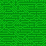 Circuit Board. Green computer circuit board. Seamless pattern Royalty Free Stock Image