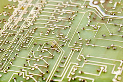Circuit board. Green circuit Board close-up Royalty Free Stock Photos