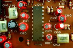 Circuit Board. A close-up of a circuit board and electronic components stock image