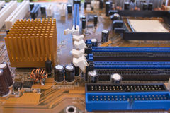 Circuit board. And some chips Stock Photo