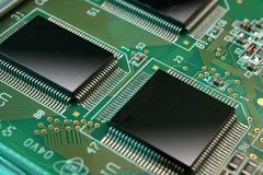 Circuit Board. Electronic computer component showing microchips and circuit board Stock Photography