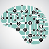 Circuit board with app icons in human brain Royalty Free Stock Images