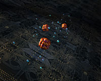 Circuit board and atoms. A circuit board with atoms floating over it Royalty Free Stock Image